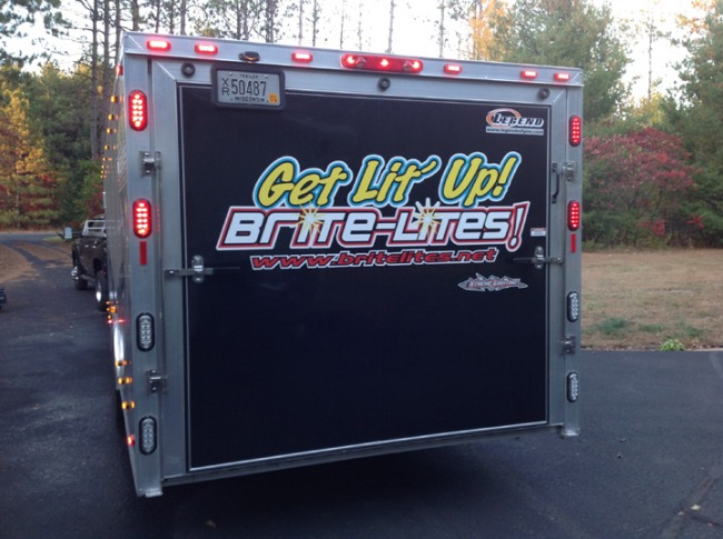 Rear View of the Brite Lites Enclosed Trailer